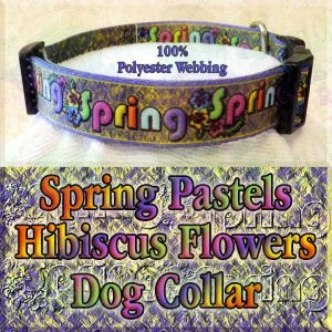 Spring Theme Pastel Hibiscus Flowers Polyester Webbing Designer Dog Collar Product Image No3