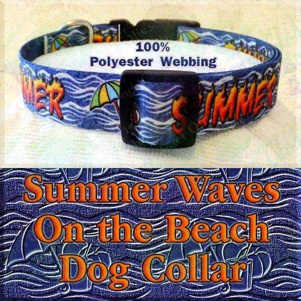 Summer Theme Beach Ball Bucket Umbrella On Ocean Wave Background Polyester Webbing Designer Dog Collar Product Image No4