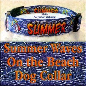 Summer Theme Beach Ball Bucket Umbrella On Ocean Wave Background Polyester Webbing Designer Dog Collar Product Image No2