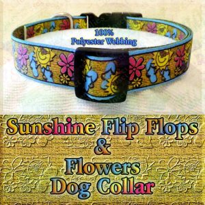 Summer Theme Sunshine Flip Flops & Flowers on Golden Canvas Faux Look Polyester Webbing Designer Dog Collar Product Image No4