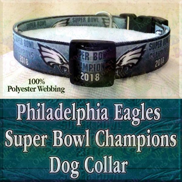 Gradient Mean Green Philadelphia Eagles Super Bowl Champions 2018 Polyester Webbing Designer Dog Collar Product Image No1