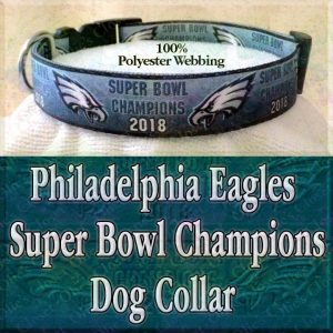 Gradient Mean Green Philadelphia Eagles Super Bowl Champions 2018 Polyester Webbing Designer Dog Collar Product Image No3