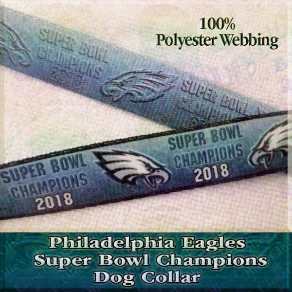 Gradient Mean Green Philadelphia Eagles Super Bowl Champions 2018 Polyester Webbing Designer Dog Collar Product Image No2