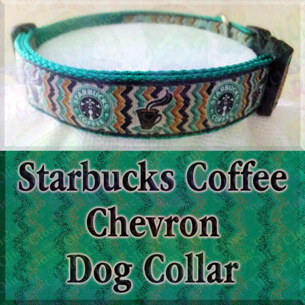 Starbucks Chevron Black on Green Dog Collar Product Image No1