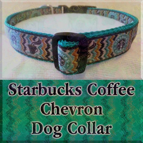 Starbucks Chevron Black on Green Dog Collar Product Image No2