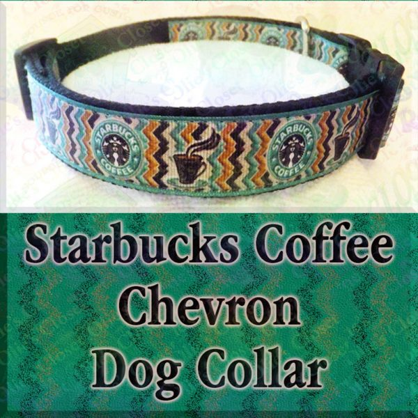 Starbucks Chevron Green on Black Dog Collar Product Image No1