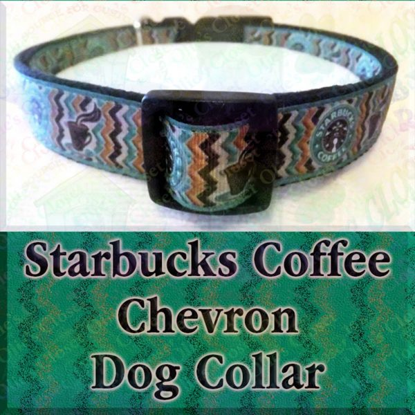Starbucks Chevron Green on Black Dog Collar Product Image No2