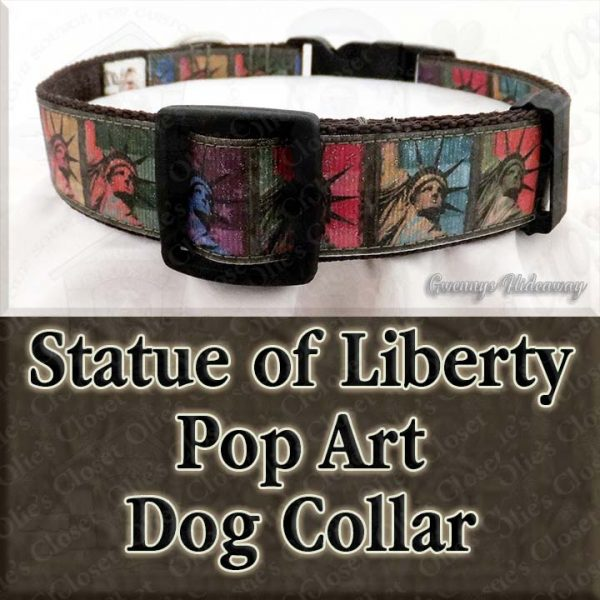 Statue of Liberty Pop Art Dog Collar Product Image No1