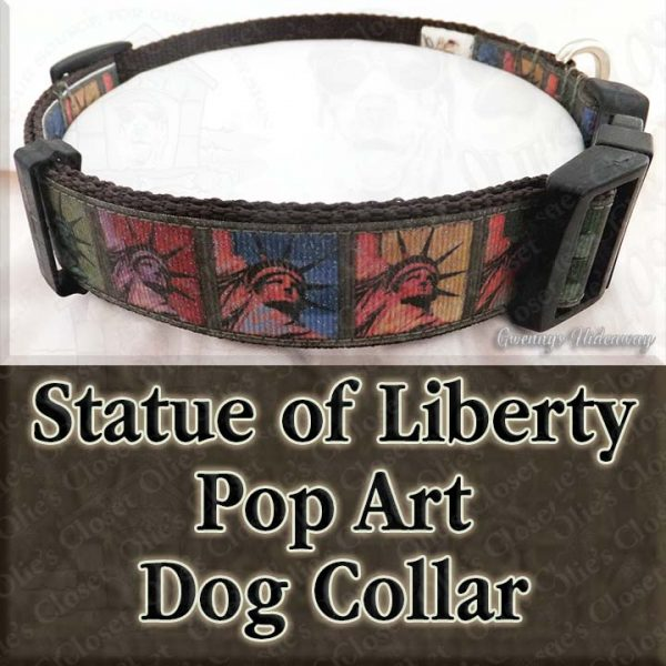 Statue of Liberty Pop Art Dog Collar Product Image No2