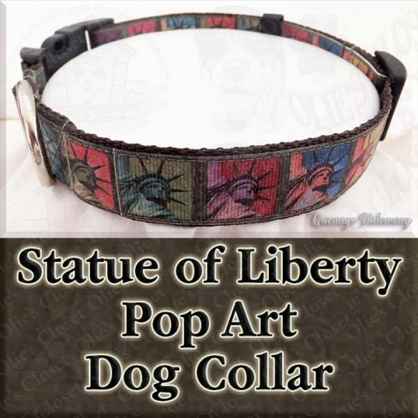 Statue of Liberty Pop Art Dog Collar Product Image No3
