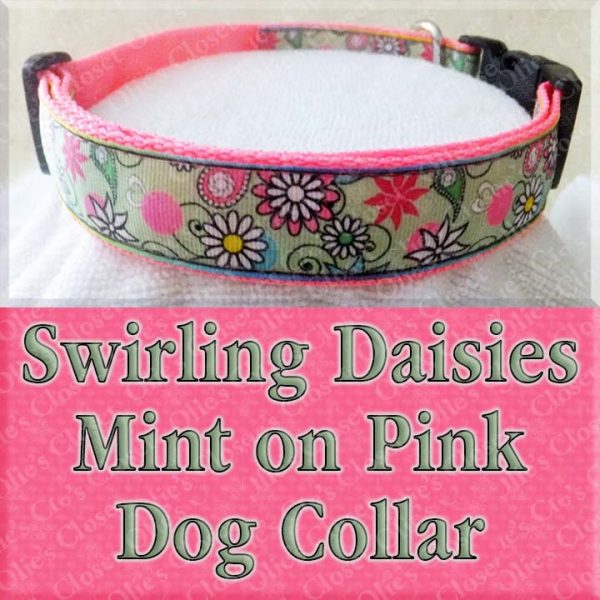 Swirling Mint Green Daisies on Pink Dog Collar Product Image No2