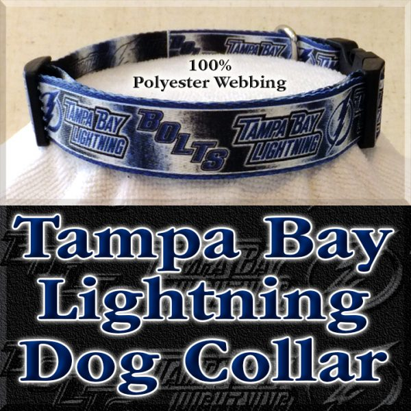 Tampa Bay Lightning Bolts NHL Ice Hockey Polyester Webbing Designer Dog Collar Product Image No1