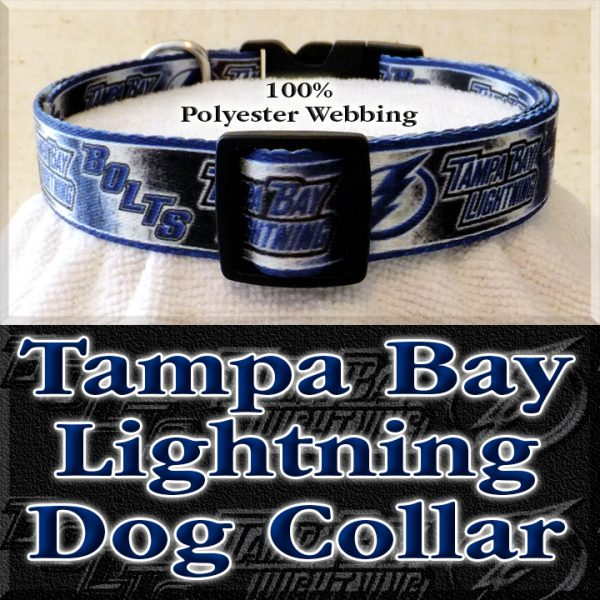 Tampa Bay Lightning Bolts NHL Ice Hockey Polyester Webbing Designer Dog Collar Product Image No2