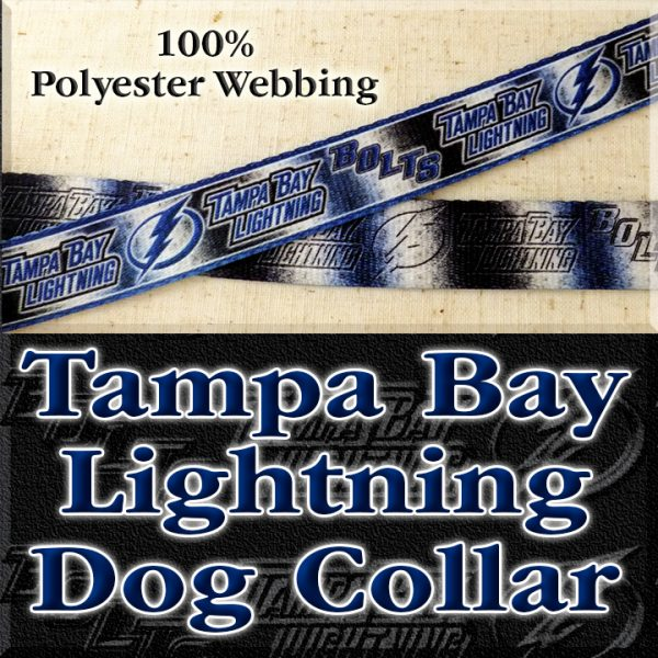 Tampa Bay Lightning Bolts NHL Ice Hockey Polyester Webbing Designer Dog Collar Product Image No4