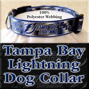 Tampa Bay Lightning Bolts NHL Ice Hockey Polyester Webbing Designer Dog Collar Product Image No3