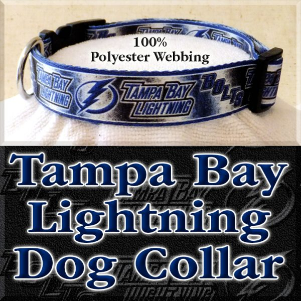 Tampa Bay Lightning Bolts NHL Ice Hockey Polyester Webbing Designer Dog Collar Product Image No3