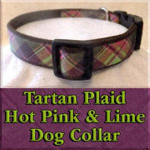 Tartan Plaid Hot Pink and Lime Green Designer Dog Collar Product Image No1