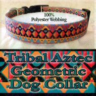 Tribal Aztec Geometric Polyester Webbing Designer Dog Collar Product Image No1