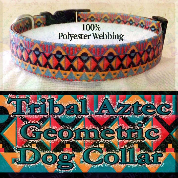 1 Wide Blue Aztec or Tribal Design Adjustable Dog Collar