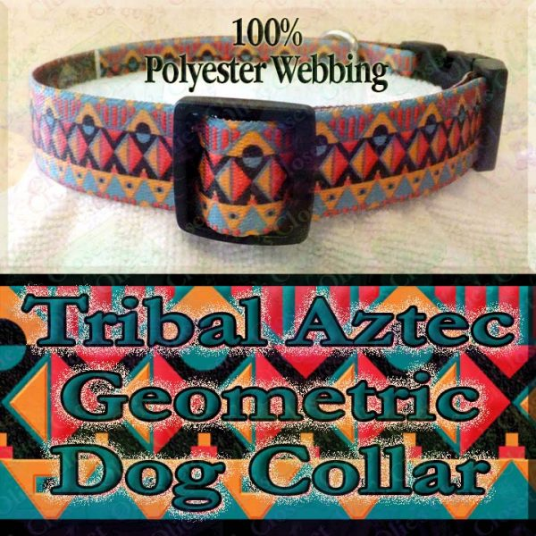 Tribal Aztec Geometric Polyester Webbing Designer Dog Collar Product Image No3