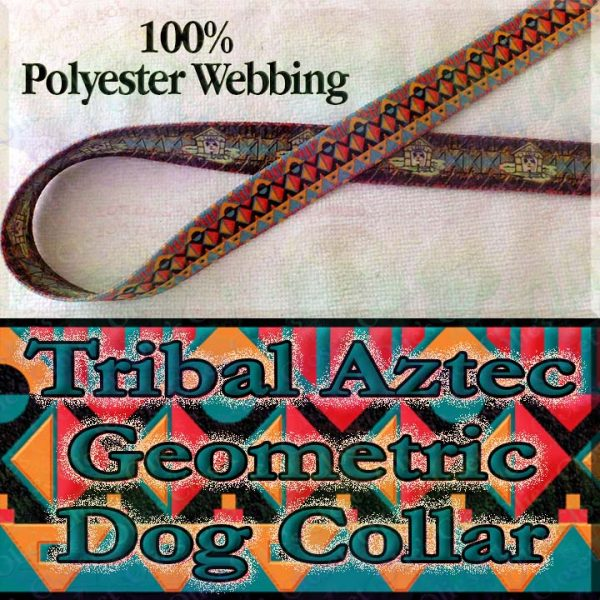 Tribal Aztec Geometric Polyester Webbing Designer Dog Collar Product Image No2