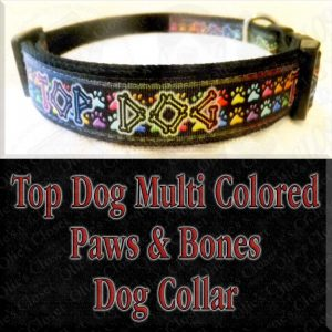 Top Dog Multi Colored Paws and Bones Designer Dog Collar Product Image No1