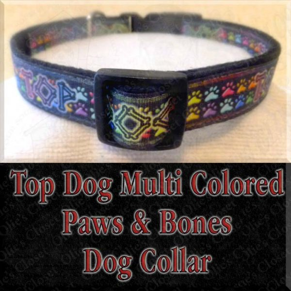 Top Dog Multi Colored Paws and Bones Designer Dog Collar Product Image No2