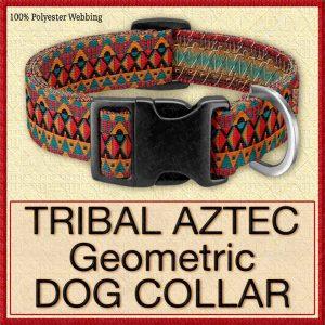 Tribal Aztec Geometric Designer Dog Collar Product Image No1