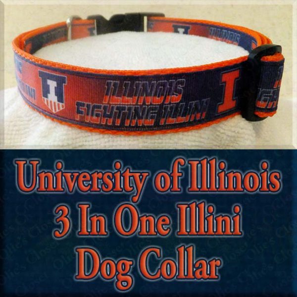 University of Illinois 3 In One Illini Designer Dog Collar Product Image No2