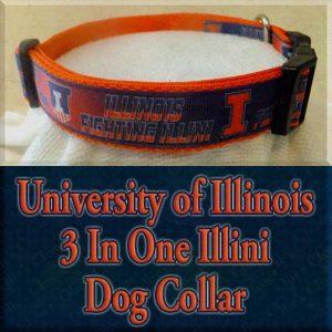 University of Illinois 3 In One Illini Designer Dog Collar Product Image No1