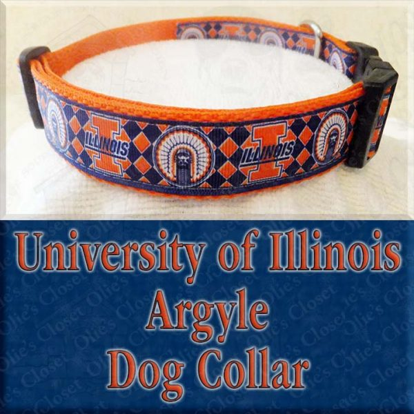 University of Illinois Argyle Designer Dog Collar Product Image No2