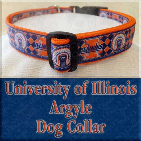 University of Illinois Argyle Designer Dog Collar Product Image No1
