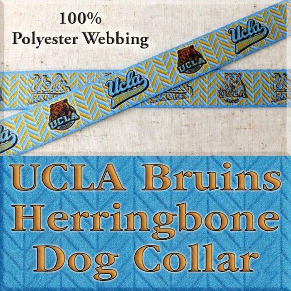 UCLA University of California Los Angeles Bruins Herringbone Polyester Webbing Designer Dog Collar Product Image No1