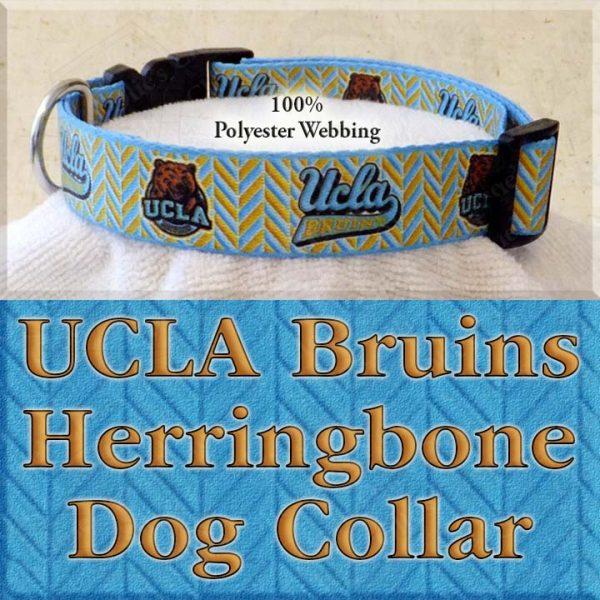 UCLA University of California Los Angeles Bruins Herringbone Polyester Webbing Designer Dog Collar Product Image No3
