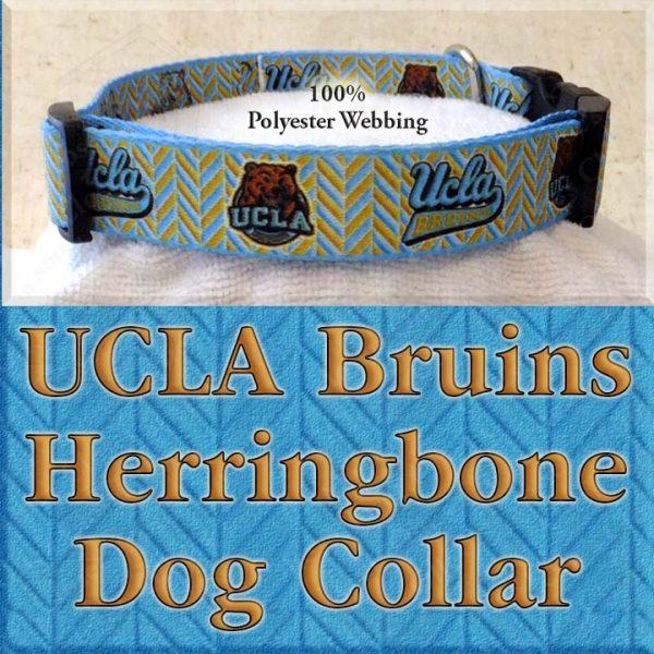 UCLA University of California Los Angeles Bruins Herringbone Polyester Webbing Designer Dog Collar Product Image No2