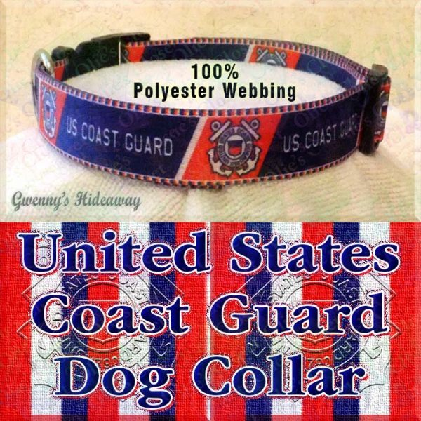 US United States Coast Guard Polyester Webbing Designer Dog Collar Product Image No2