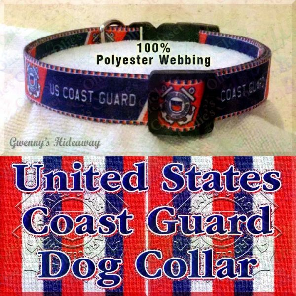 US United States Coast Guard Polyester Webbing Designer Dog Collar Product Image No1