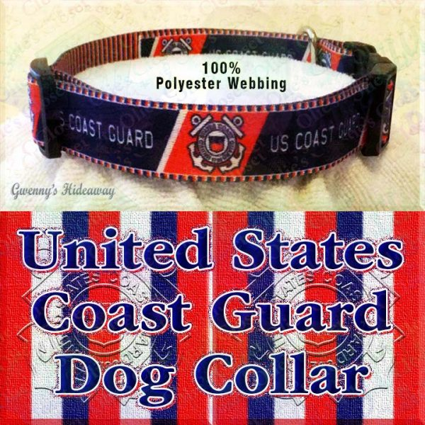 US United States Coast Guard Polyester Webbing Designer Dog Collar Product Image No4
