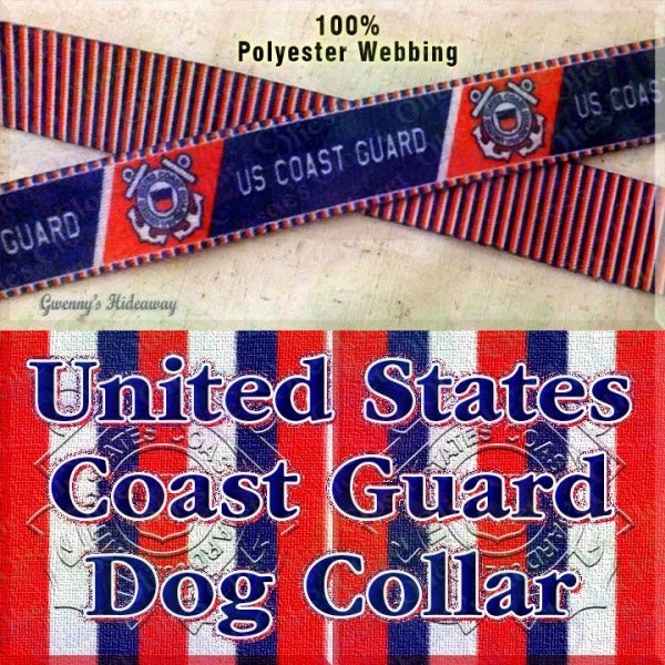 US United States Coast Guard Polyester Webbing Designer Dog Collar Product Image No3