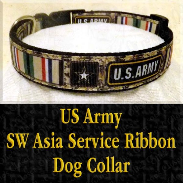 US Army SW Asia Desert Storm Service Ribbon Designer Dog Collar Product Image No1