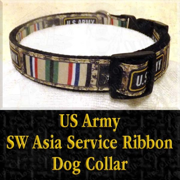 US Army SW Asia Desert Storm Service Ribbon Designer Dog Collar Product Image No2
