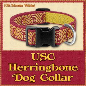 USC Herringbone Designer Dog Collar Product Image No1