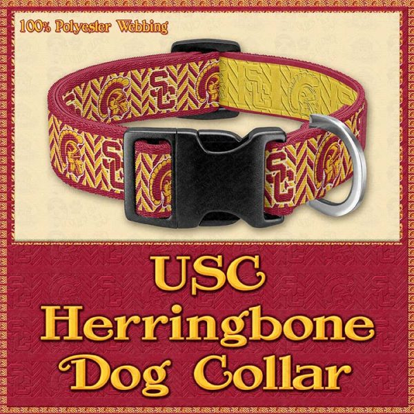 USC Herringbone Designer Dog Collar Product Image No1