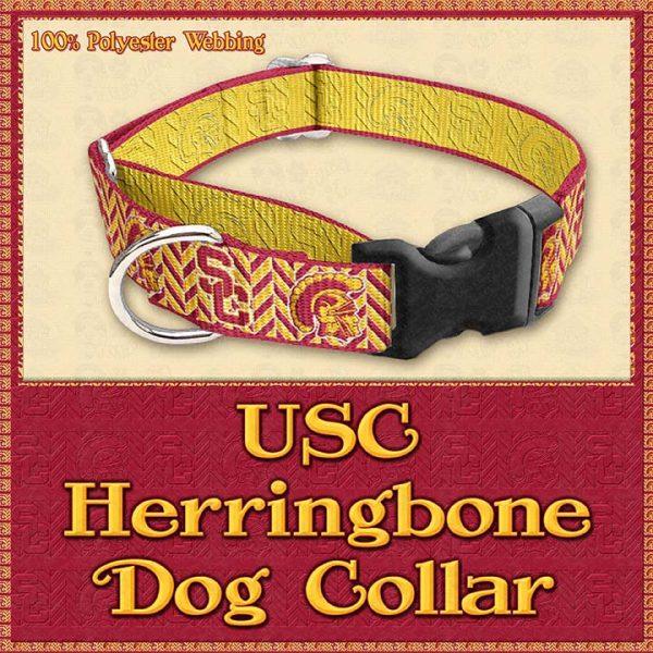 USC Herringbone Designer Dog Collar Product Image No2