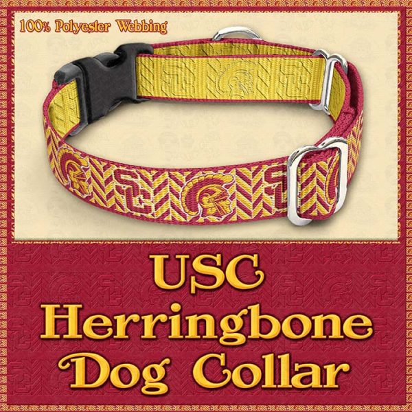 USC Herringbone Designer Dog Collar Product Image No3