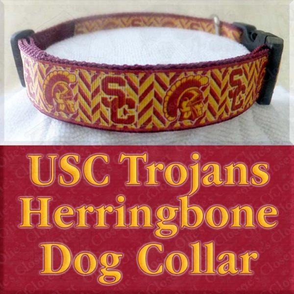 USC University of Southern California Trojans Herringbone Designer Dog Collar Product No1
