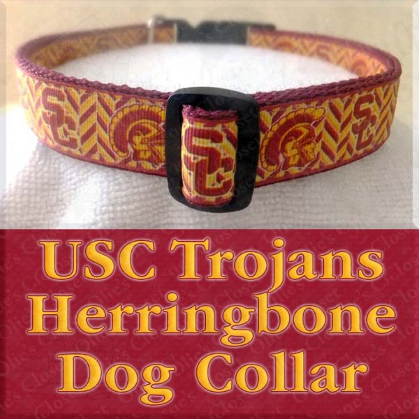 USC University of Southern California Trojans Herringbone Designer Dog Collar Product No2