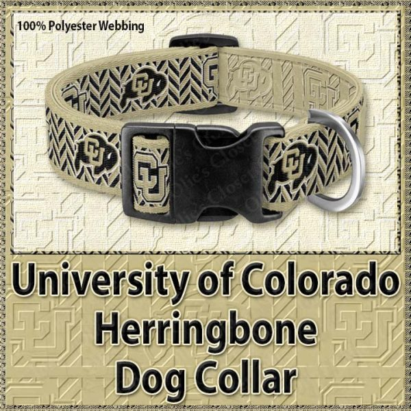 University of Colorado Buffaloes Herringbone Polyester Webbing Dog Collar Product Image No1