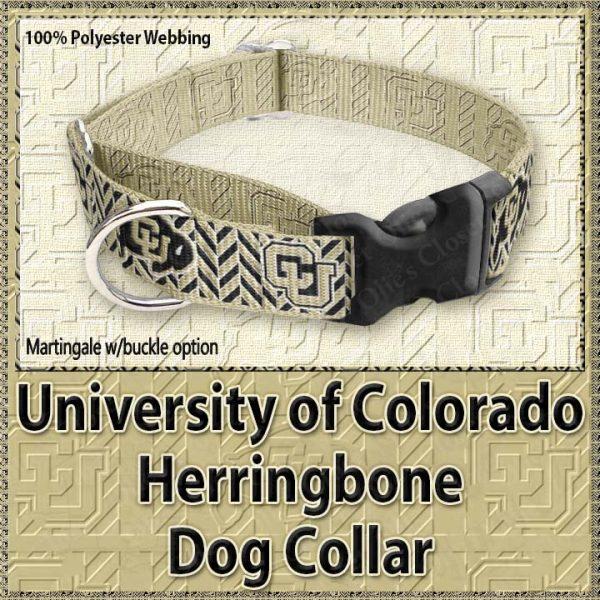 University of Colorado Buffaloes Herringbone Polyester Webbing Dog Collar Product Image No2