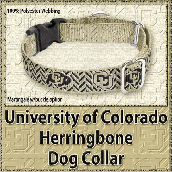 University of Colorado Buffaloes Herringbone Polyester Webbing Dog Collar Product Image No3
